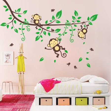 Jungle Monkey Tree Kids Baby Nursery Wall Sticker Mural Decor Decal Removable