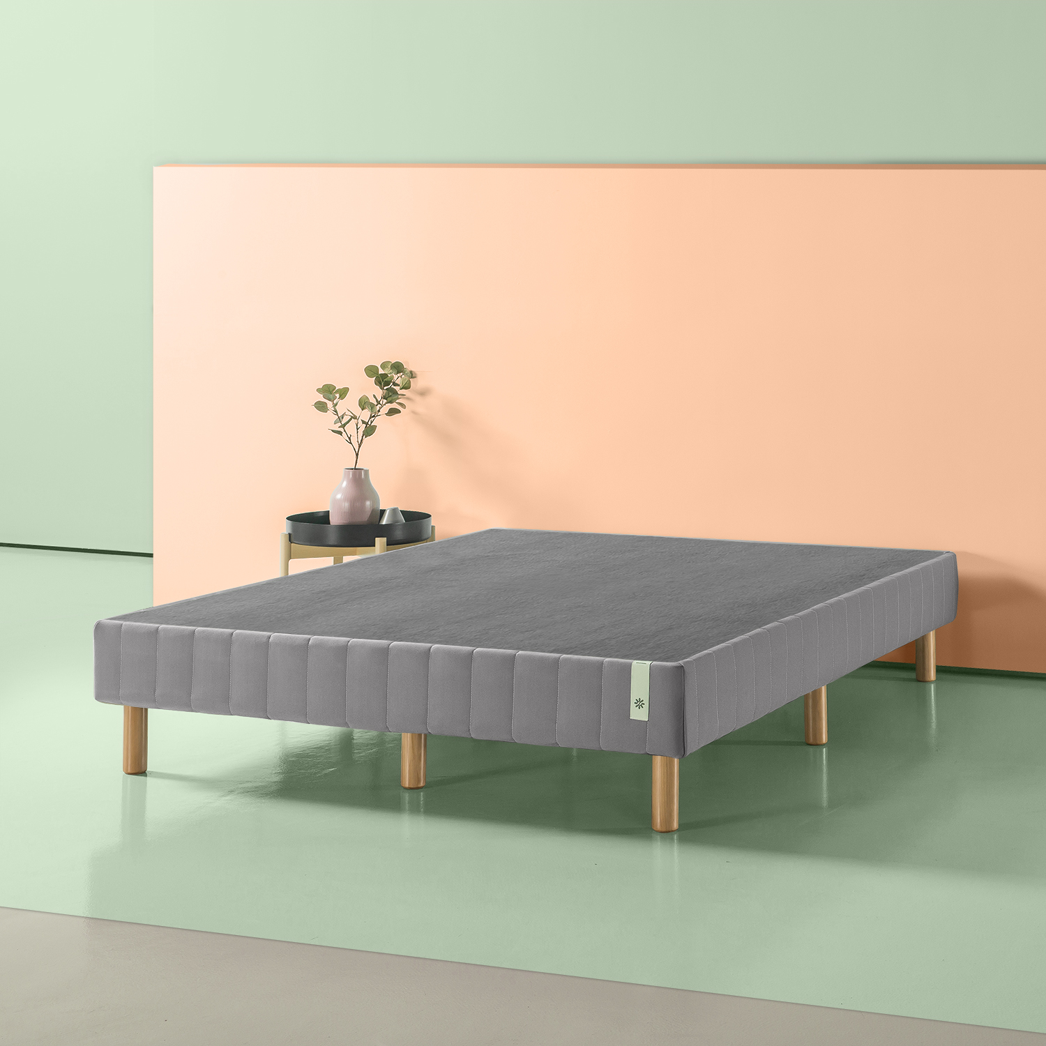 Zinus 14in Quick Snap Standing Mattress Foundation with Gray cover