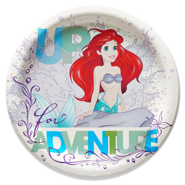 "7"" The Little Mermaid Ariel Dream Big Paper Dessert Plates, 8-Count"