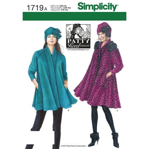 Simplicity Misses' Coat, Jacket and Hat (XXS - XL)
