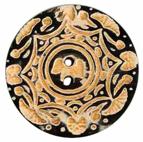 Vision Trims Handmade Horn Button-2 Circle Gold Carvings Multi-Colored