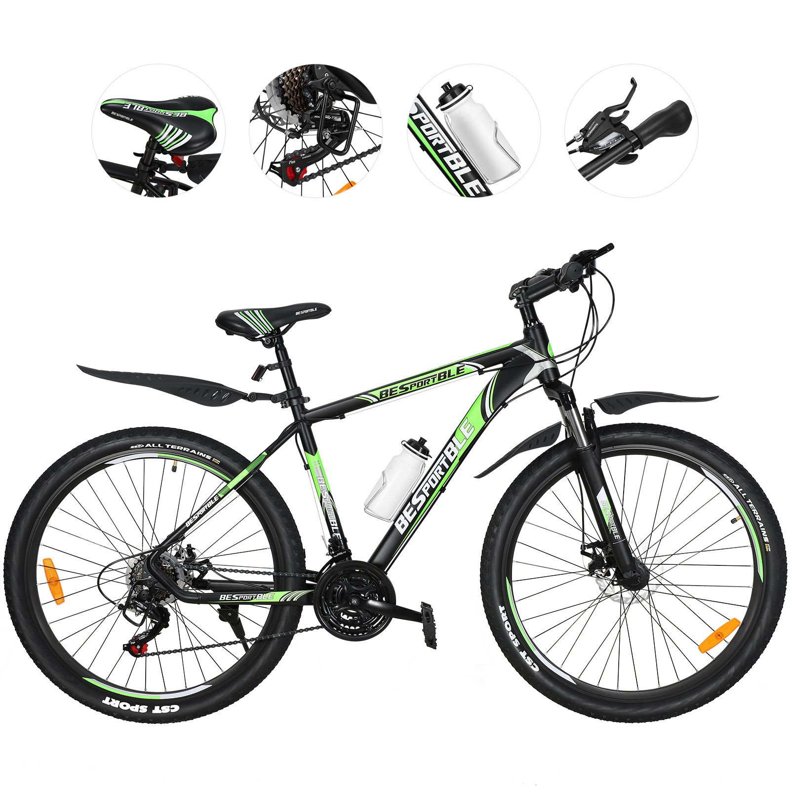 "BESPORTBLE 27.5"" Wheel 21 Speeds Mountain Bike with Aluminum Frame Suspension Fork"