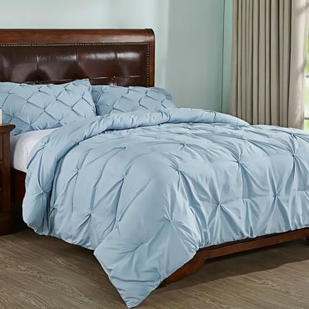 Peace Nest 3-Piece Pleat Down Alternative Comforter Set, Queen Size, Light Blue ()