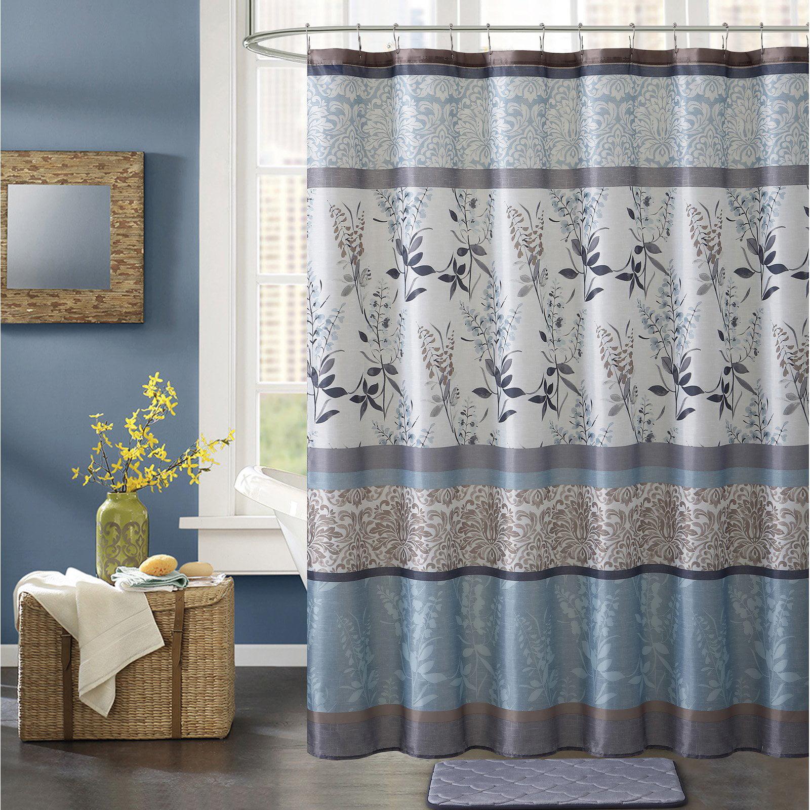 VCNY Home 14 Pc Complete Hawthorne Geometric Fabric Shower Curtain /& Hooks Set