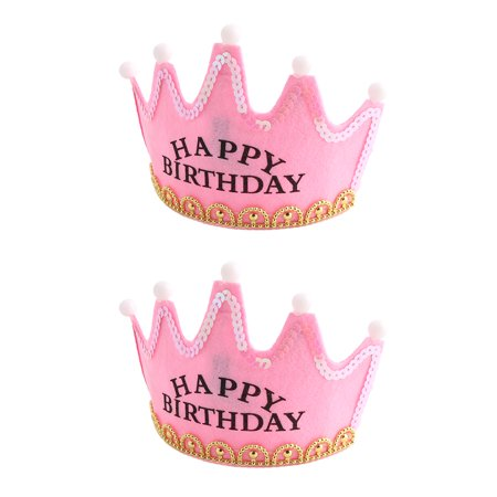 Birthday Party Crown Shaped Bead  Light Gift Accessory Cap Pink 2 PCS](Birthday Crown Party City)