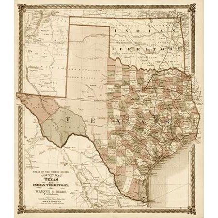 County Map of Texas and Indian Territory 1874 - Decorative Sepia Poster Print by HH Lloyd and Company ()