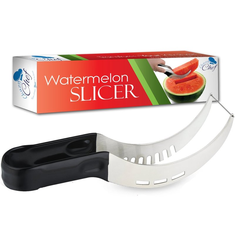 Watermelon Slicer Cutter Corer & Server - Multipurpose All In One Stainless Steel Knife - Melon & Fruit Slicer - Comfortable Rubber Handle Corer Tongs & Dicer - CHhuzy Chef