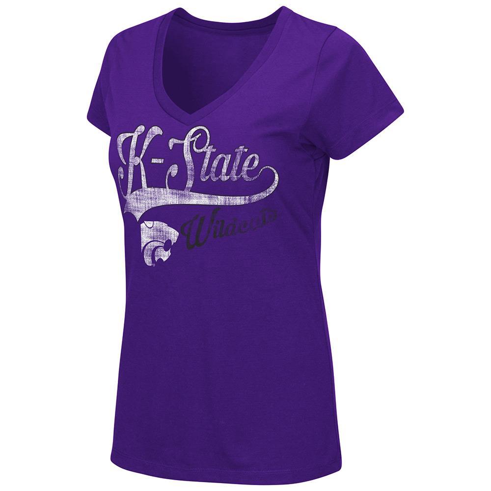 Womens NCAA Kansas State Wildcats V-Neck Short Sleeve Tee Shirt (Team Color)