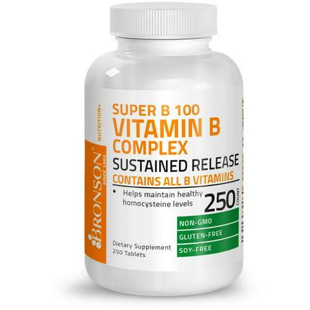 B6 Complex - Bronson Vitamin B 100 Complex High Potency Sustained Release (Vitamin B1, B2, B3, B6, B9 - Folic Acid, B12), 250 Tablets
