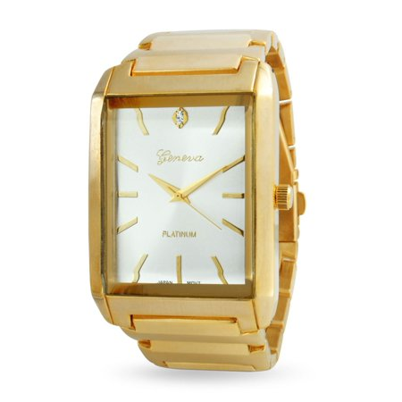 Mens White Rectangle Dial Link Bracelet Wrist Tank Watch For Men Gold Stainless Steel Band Automatic ()