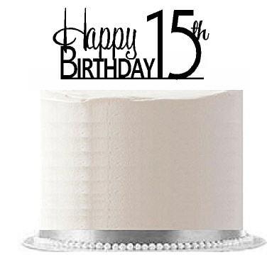 Item#AE-118 Happy 15th Birthday Agemilestone Elegant Cake Topper