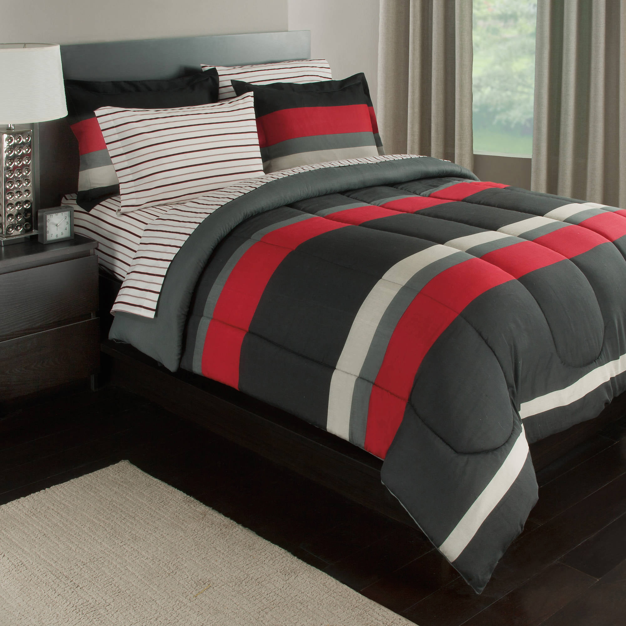 Black Gray Red Stripes Boys Teen Full Comforter Set 7 Piece