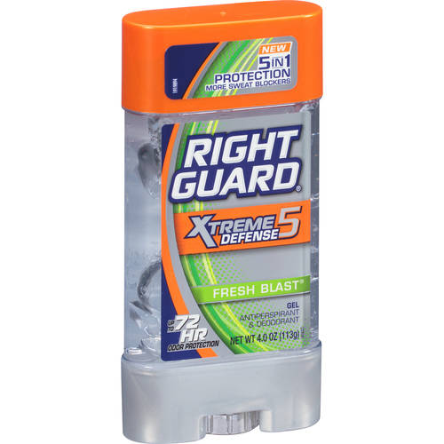 Right Guard Xtreme Defense 5 Antiperspirant Deodorant Gel, Fresh Blast, 4 Oz