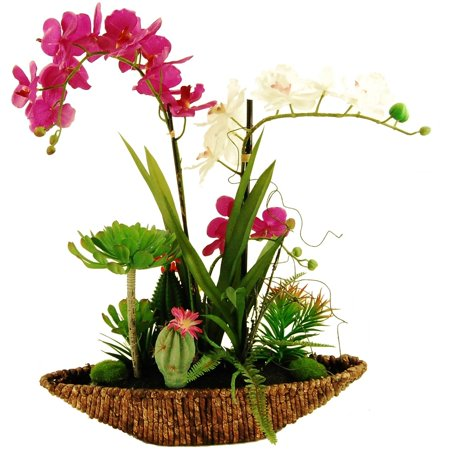 LCG Florals Tropical Garden Silk Flowers with Oval Rope Basket