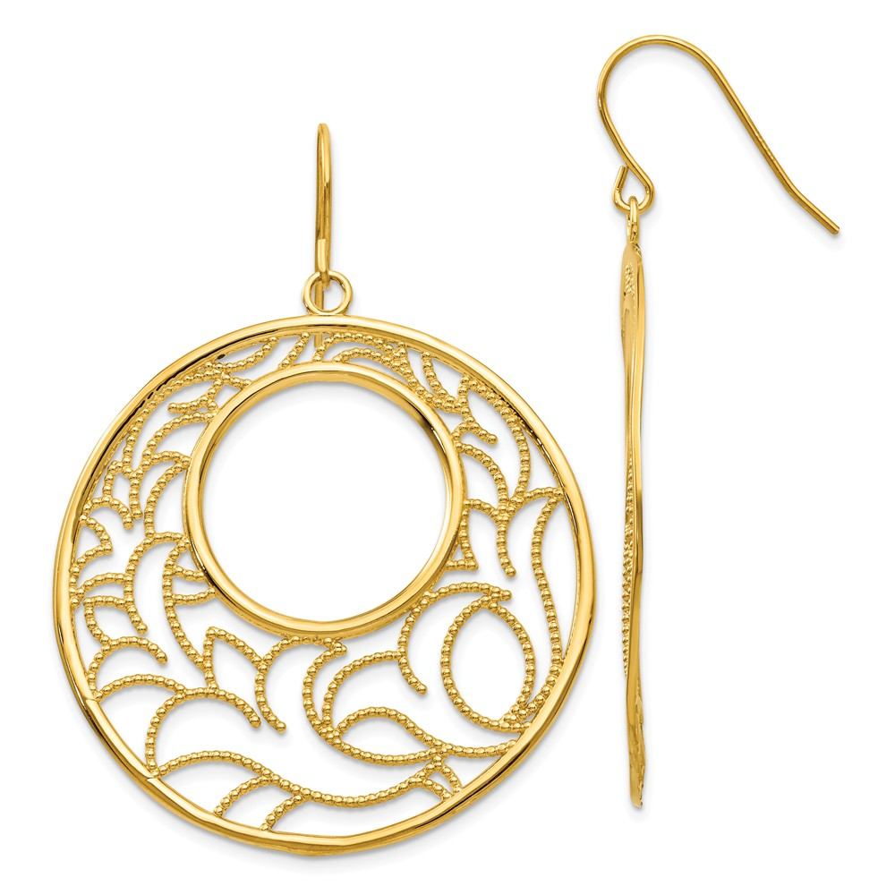 14k Yellow Gold Circle Dangle Earrings (2IN x 1.5IN )