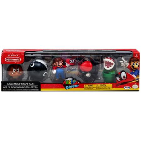 World of Nintendo Super Mario Odyssey Mario with Cappy, Piranha Plant, Captured Bullet Bill, Goomba & Chain Chomp Mini Figure