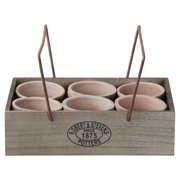 Esschert Design Aged Terracotta 6-Flowerpots Divided Crate with Handle