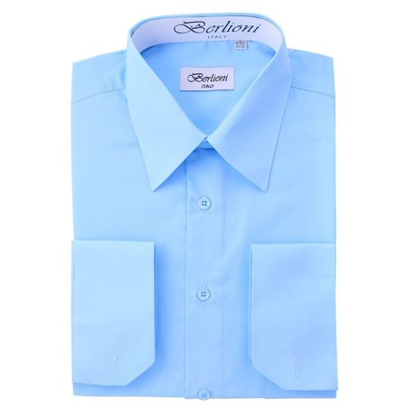 Berlioni Italy Men's Convertible Cuff Solid Long Sleeve Dress Shirt Light