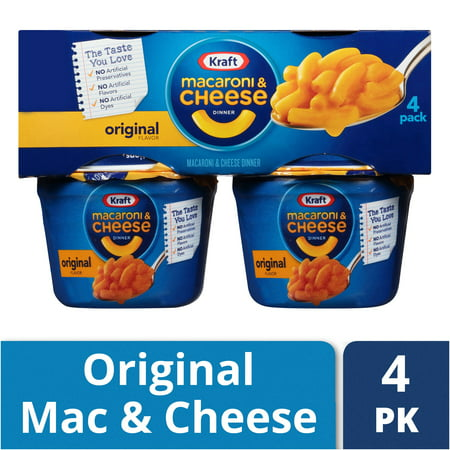 (2 Pack) Kraft Easy Mac Original Flavor Macaroni & Cheese Dinner, 4 - 2.05 oz Microwavable Tubs ()