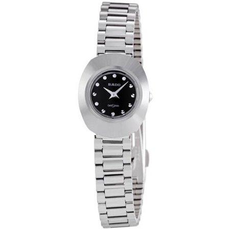 Black Dial Diamond Watch (Rado Original Black Diamond Dial Stainless Steel Ladies Watch R12558153 )