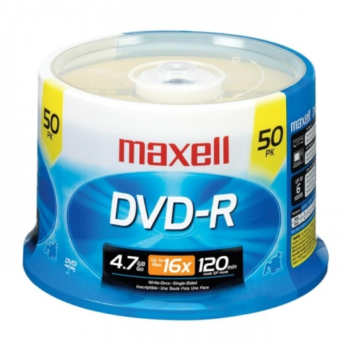 Maxell DVD-R Discs, 4.7GB, 16x, Spindle, Gold, 50 Pack by Maxell