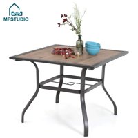 "MFSTUDIO 37"" Square Backyard Bistro Table Patio Dining Table Outdoor Furniture Garden Table, Imitation of Wooden Surface Top, 1.57"" Umbrella Hole, Brown"