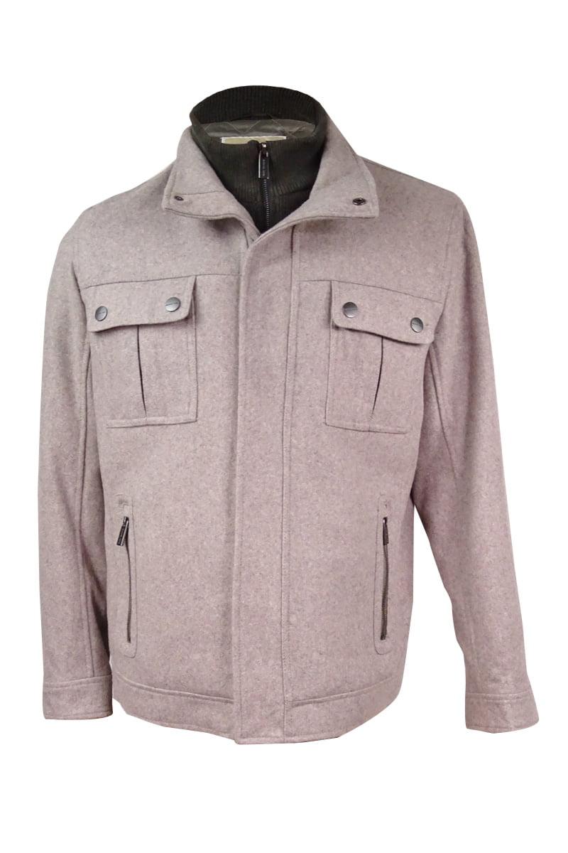 MICHAEL Michael Kors Men's Alhambra Knit-Bib Wool-Blend Coat (L, Taupe Heather) by