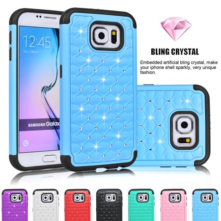 Galaxy S6 Edge Case,[Green] Crystal Diamond hock Absorbing Rhinestone Sparkle Bling Glitter Hard Case Cover Shell For Samsung Galaxy S6 Edge S VI Edge G925 All Carriers Njjex [New Star]