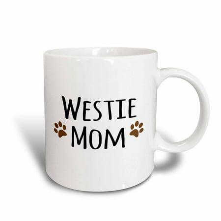 Bedlington Terrier Mug (3dRose Westie Dog Mom - West Highland White Terrier - Doggie by breed - doggy lover owner brown paw prints, Ceramic Mug, 11-ounce )