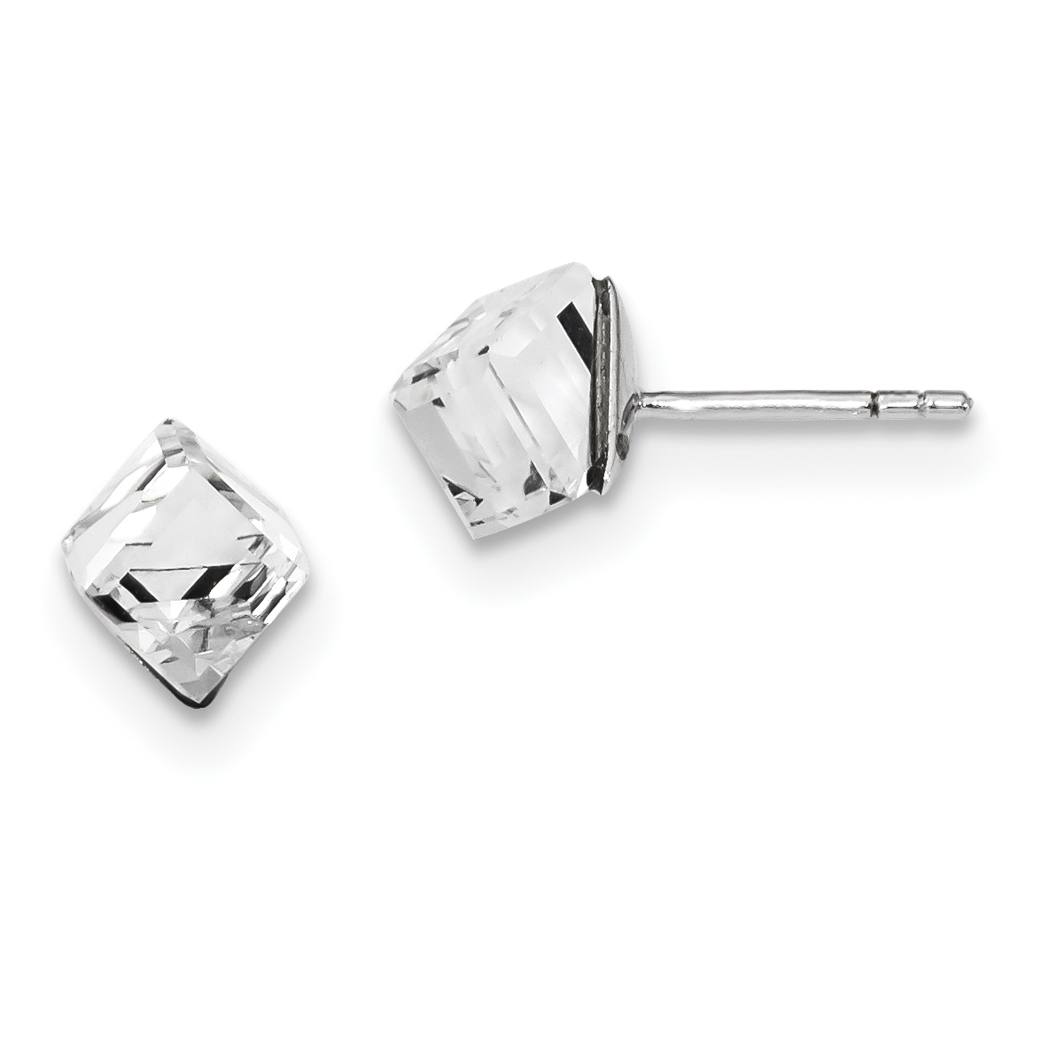 925 Sterling Silver 6mm Crystal Cube Post Stud Ball Button Earrings