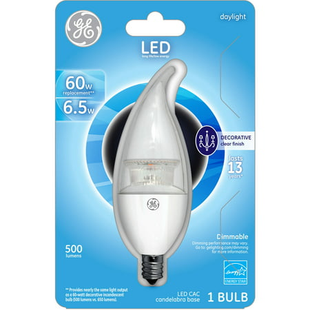 GE 60-Watt Equivalent (Uses 7 Watts) Small Base Daylight Clear Decorative LED, 1 Pack