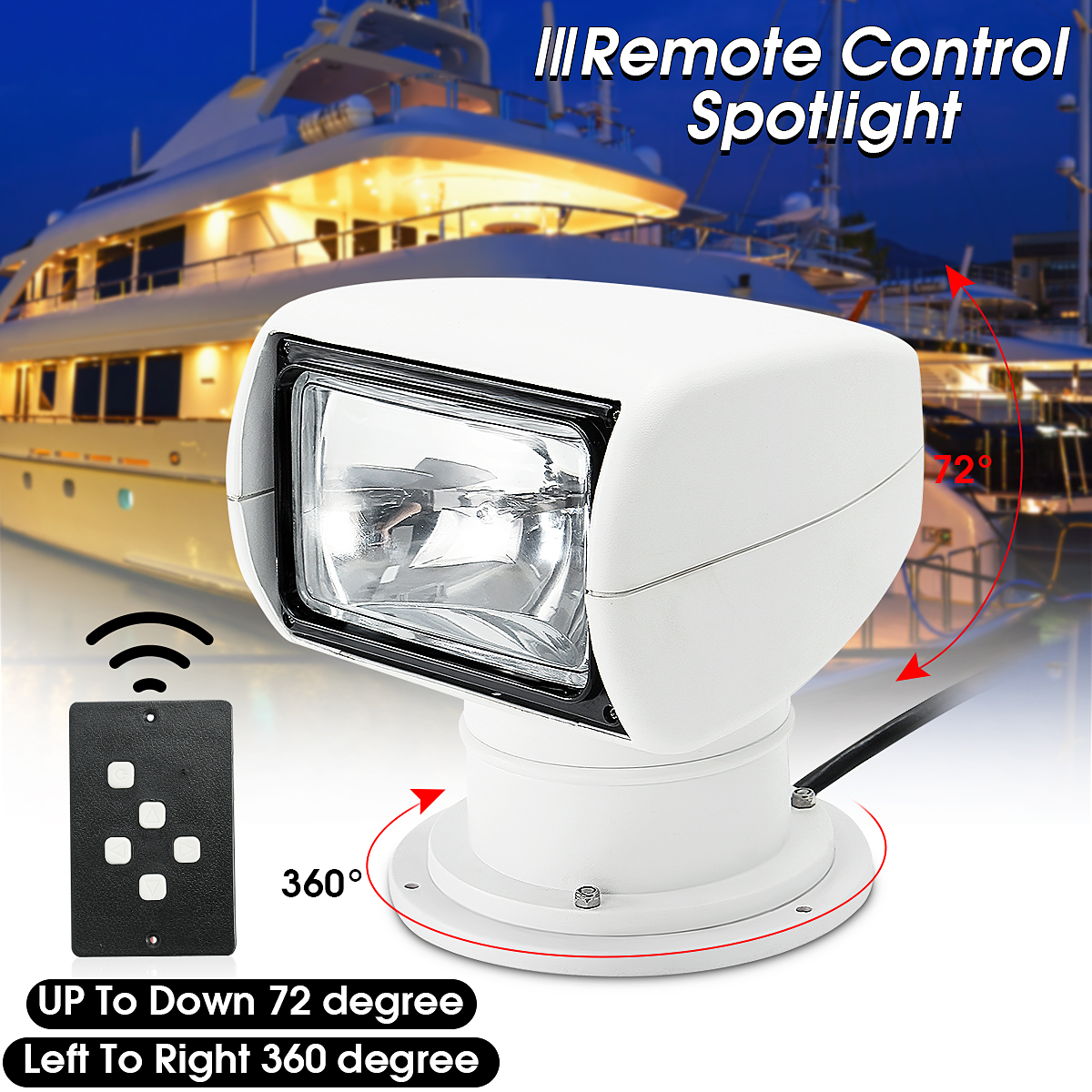 Remote Control Spotlight SUV Car Marine Remote Searchlight 12V 100W Bulb Special