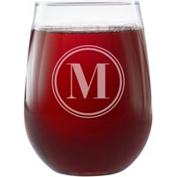 Personalized Classic Monogram Stemless Wine Glasses, Choose Block or Circle