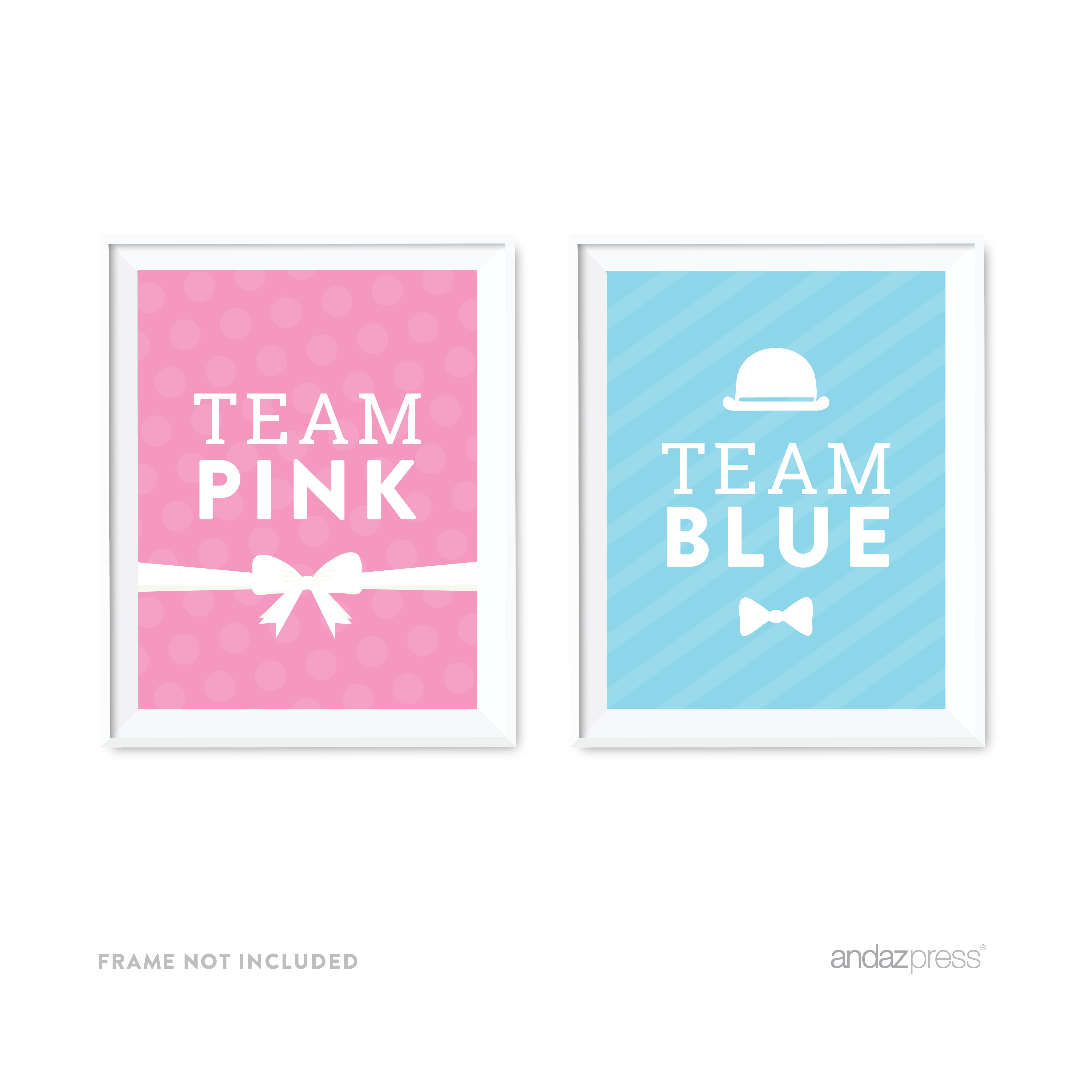 Gender Reveal Baby Shower Team Pink/Blue Party Signs, 2-Pack