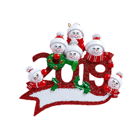 2019 Snowman Family of 6 Personalized Christmas Ornament ()