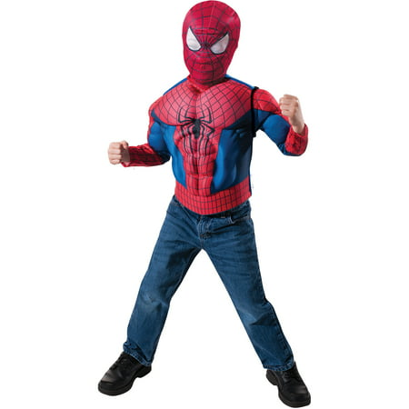 Spider-Man Muscled Chest Child Costume Role Play Set](Kids Amazing Spider Man Costume)