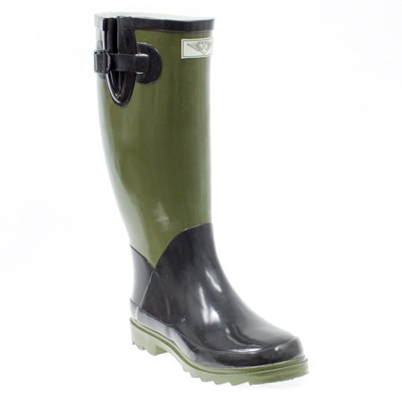 Women Rubber Rain Boots with Cotton Lining, Army -
