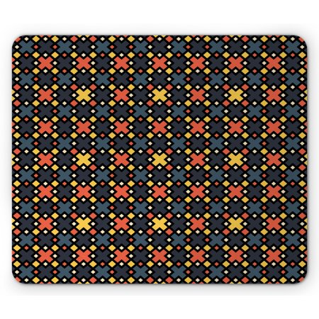 Abstract Mouse Pad, Geometric Trippy Forms in Funky Tones Digital Puzzle Game Style Urban Illustration, Rectangle Non-Slip Rubber Mousepad, Multicolor, by Ambesonne