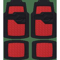 Auto Drive Universal 4-Piece Anti-Slip Red Metallic Car Floor Mat