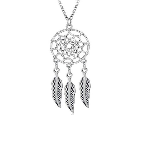 Feather Jewelry Pendant (StylesILove Womens Dream Catcher Turquoise Beads Pendant Necklace (Silver Feathers) )