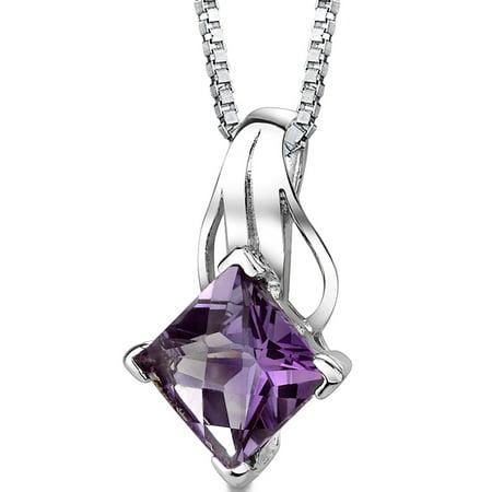2.00 Carat T.G.W. Princess Shape Checkerboard Cut Amethyst Rhodium over Sterling Silver Pendant,