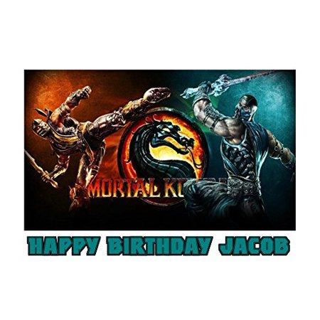 1/4 Sheet Mortal Kombat Dragon Sub-Zero Scorpion Edible Frosting Cake Topper- 77007* for $<!---->