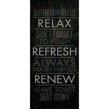 - Bathroom Rules 9x20 Giclee Art Print Poster Decor by Dallas Drotz POD
