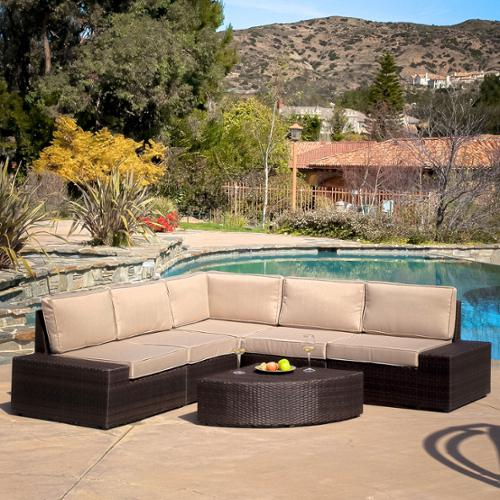 Karyn 6 Piece Outdoor Brown Wicker Sofa Set with Cushions