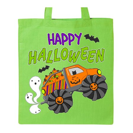 Happy Halloween-monster truck with pumpkins, bats, cat,and ghost Tote Bag Lime Green One Size