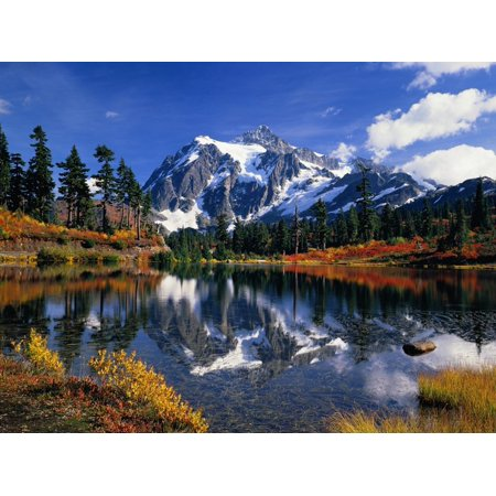 Autumn Foliage Surrounding Picture Lake Scenic Mountain Reflection Photo Print Wall Art By Craig Tuttle