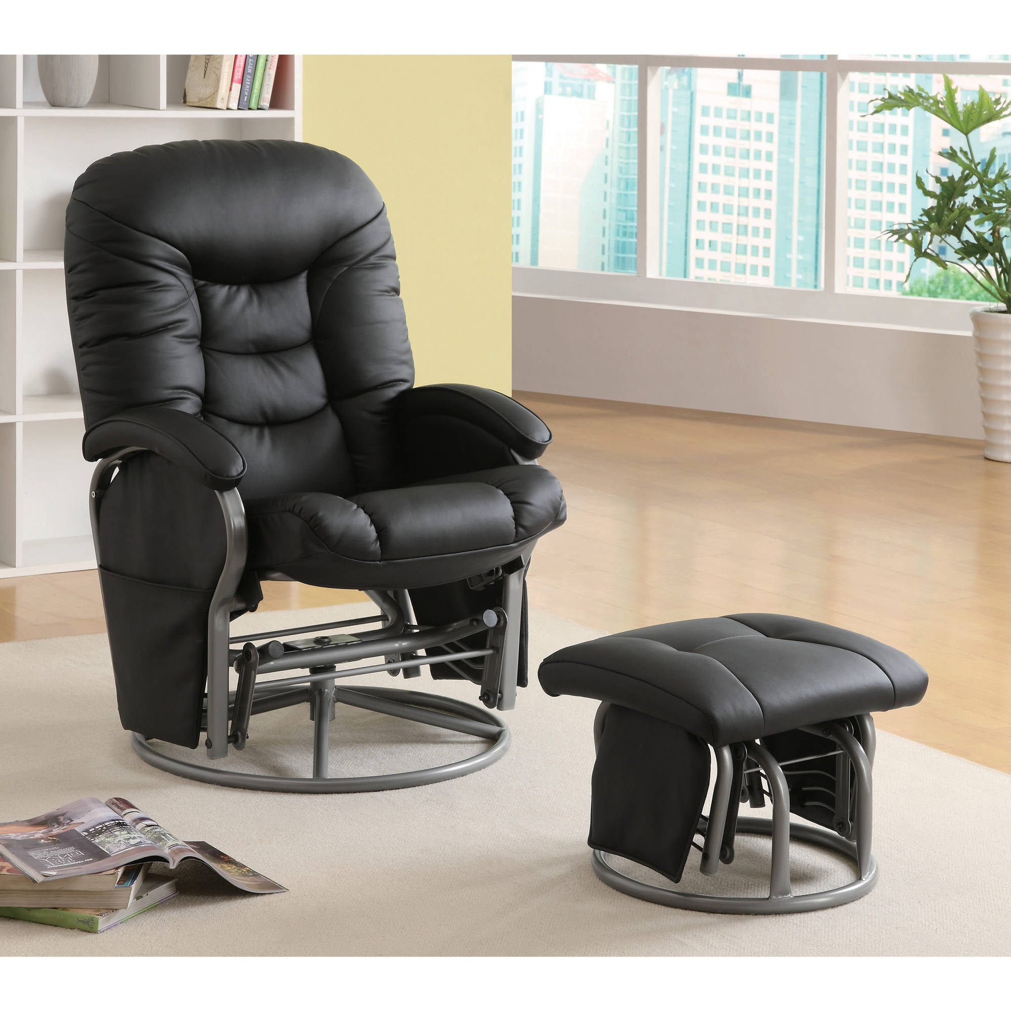 Coaster Smooth Glider and Ottoman with Padded Seat