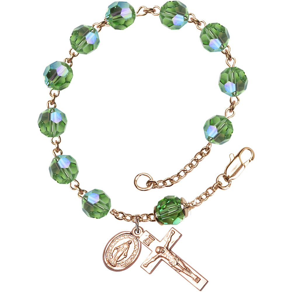 14kt Yellow Gold Rosary Bracelet 8mm August Green Swarovski Capped Our Father Aurora Borealis beads Crucifix sz 7 8 x 3... by