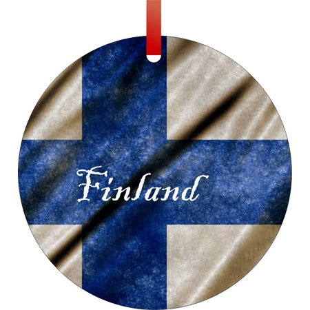 Finland Ribbons - Finland Grungy Waving Flag Print-  TM - Double-Sided Round-Shaped Flat Aluminum Christmas Holiday Hanging Ornament with a Red Satin Ribbon. Made in the USA!