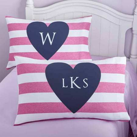 Personalized I Heart Stripes Pillowcase, Monogram ()
